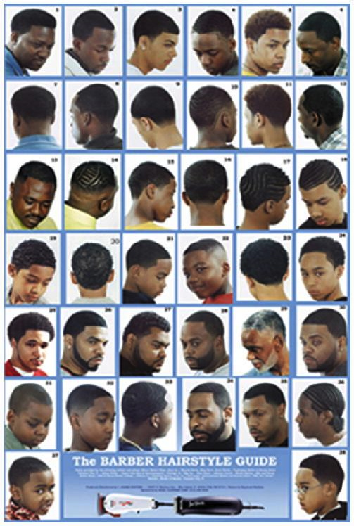 The Barber Hairstyle Guide Blue Background Poster