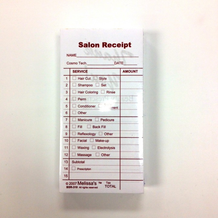 Beauty Salon Receipts Rubinov S