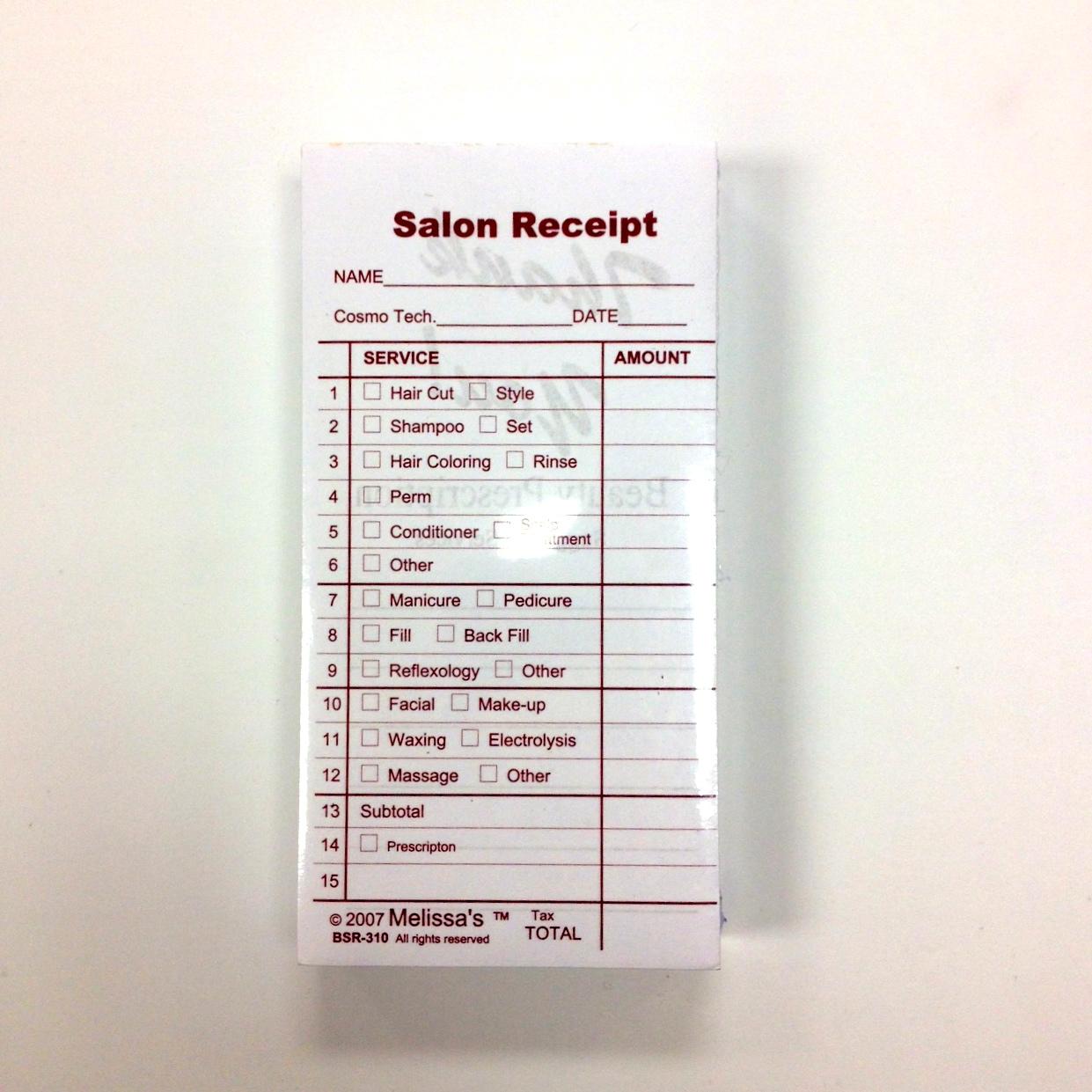 Beauty Salon Receipts Rubinov